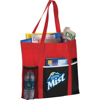 "Non-Woven Multi-Pocket Tote - Open main compartment. Front slash pocket with contrast trim. Mesh water bottle pocket on front of bag with an additional pocket for extra storage. 24"" grab handles."
