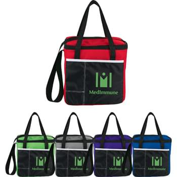"Color Block Cooler - Zippered main compartment. Two front pockets that are ideal for utensils and additional storage.18"" Drop carry handle. Adjustable strap."