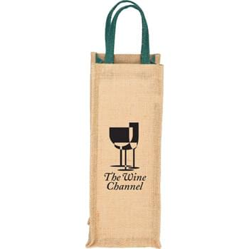 Jute Single Bottle Wine Tote - This tote was designed for a single bottle of wine. It offers color pops in the gussets and grab handles.