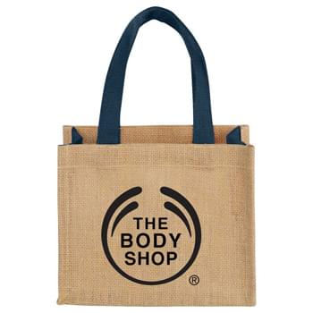 Mini Jute Gift Tote - Open main compartment. Double 12.5' handles. Disclaimer: Minimum of 32pt. font size. Bold artwork only. No fine graphics or text.