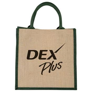 Medium Jute Gift Tote - Open main compartment with Velcro closure. Double 14' handles. Disclaimer: Minimum of 32pt. font size. Bold artwork only. No fine graphics or text.