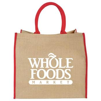 Large Jute Tote - Open main compartment with Velcro closure. Double 17' handles. Disclaimer: Minimum of 32pt. font size. Bold artwork only. No fine graphics or text.