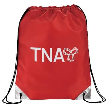 Metallic Accent Drawstring Sportspack - This sportspack offers the perfect amount of shine. Large open main compartment with drawstring rope closure. Metallic accent corner tabs.