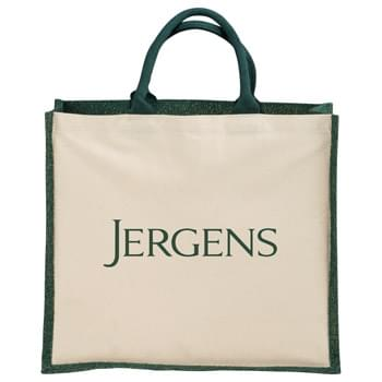 "Metallic Jute and Cotton Shopper Tote - Jute is taken to the next level with metallic threading accents throughout the body of this bag. Open main compartment . 15"" grab handles."