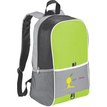 The Skywalk Large Backpack - Large zippered main compartment. Open front pocket. Pen loop and D-ring. Two side mesh pockets. Adjustable, reinforced padded shoulder straps. Webbed carry handle.
