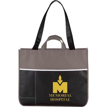 "The Change Up Meeting Tote - CLOSEOUT! Please call to confirm inventory available prior to placing your order!<br />Open main compartment with double 28"" handles and dual carrying straps. Two open front pockets for maximum organization. Reusable."
