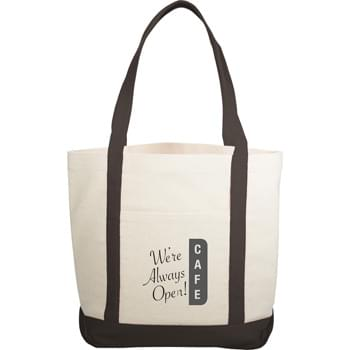 "The Casablanca Cotton Boat Tote - Large open main cotton compartment with double 20"" reinforced handles. Open front pocket."