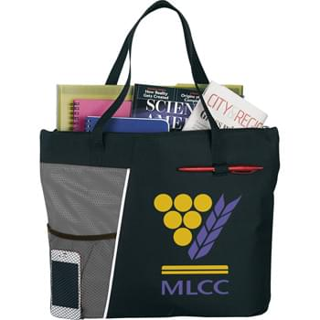 "The Touch Base Meeting Tote - Zippered main compartment with double 20"" handles. Front mesh pocket. Front pen loop."