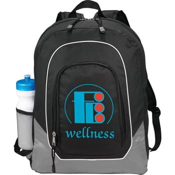 "The Cornerstone Laptop Compu-Backpack - Zippered main compartment features padded laptop compartment that holds most 15"" laptop computers. Front zippered pocket with full organization panel. Side mesh pocket. Padded back. Adjustable padded straps. Carry handle."