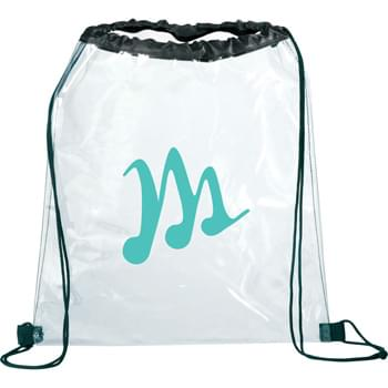 Rally Clear Cinch - Clear material makes this bag perfect for stadium, event, workplace and other safety purposes. Open main compartment with drawstring rope closure.