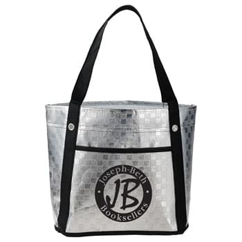 Metallic Mini Gift Tote - Metallic body with open main compartment. Front slash pocket. Eyelet accents on the base of the 16.5' grab handles.