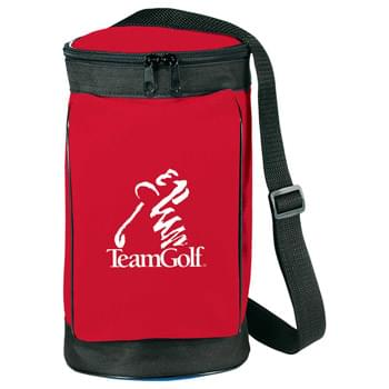 Golf Bag Cooler - Fully insulated main compartment with liner. Back and front zippered pockets. Removable and adjustable shoulder strap.