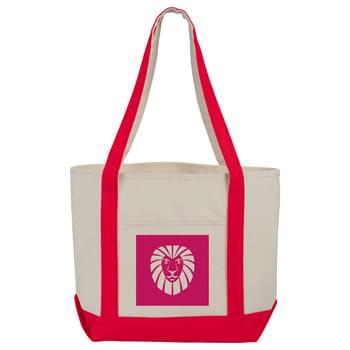 12 oz. Cotton Boat Tote - Large open main cotton compartment. 12' handles. Open front pocket.