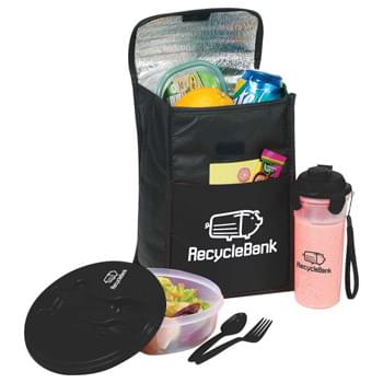 Stay Fit Cooler Gift Set - Open main compartment with Velcro flap closure and top carry handle. Front pocket. Includes a beverage shaker (16oz.) and salad/food container (27oz). All three pieces are included and decorated.