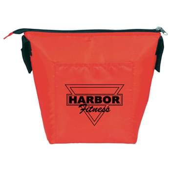 Clip Cooler Lunch Bag - Zippered main insulated compartment with Velcro closure top. Front slash pocket.