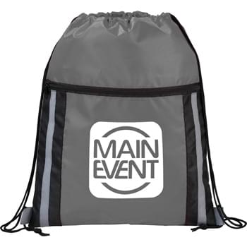 The Deluxe Reflective Drawstring Cinch - Open main compartment with drawstring rope closure. Zippered front pocket. Reflective stripes.