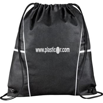 Diamond Drawstring Cinch Backpack - Open main compartment with drawstring rope closure. Open top pockets on each side.