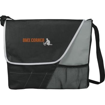The Rhythm Messenger Bag - Open main compartment with Velcro flap closure. Front accessory pockets. Front mesh pocket. Adjustable shoulder strap.