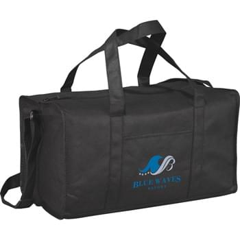 "The Popeye Non-Woven Duffel Bag - Zippered main compartment with supportive bottom board and double reinforced 9-1/2"" drop carry handles. Open front pocket. Adjustable shoulder strap."