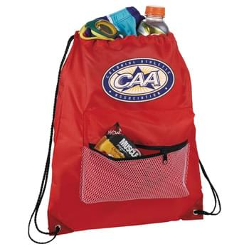 Mesh Front Pocket Drawstring Sportspack - Large open main compartment with drawstring closure. Zippered mesh pouch on front of bag.