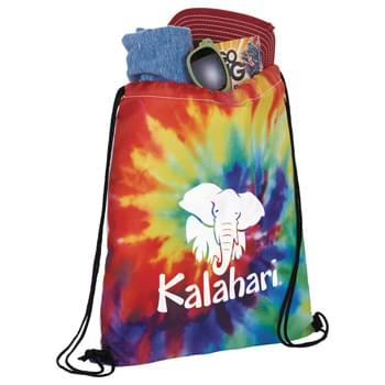 Tie Dye Drawstring Sportspack - Make a statement with this multi-color tie dye print drawstring sportspack! Open main compartment with drawstring closure. Mult-color tie dye print on front of bag.