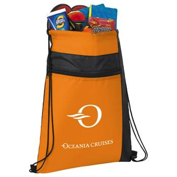 Color Pop Drawstring Sportspack - CLOSEOUT! Please call to confirm inventory available prior to placing your order!<br />Large open main compartment with drawstring closure. Color blocked accents and zippered front pocket.