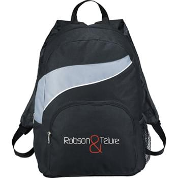 The Tornado Backpack - Large main zippered compartment. Zippered front compartment. Side mesh pocket. Double adjustable shoulder straps.