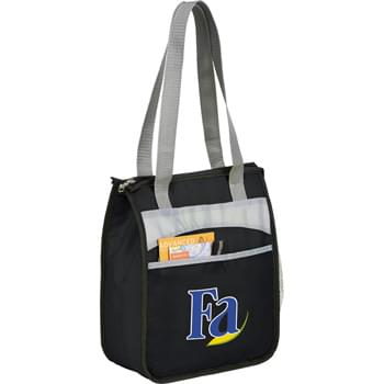 "The Finch Lunch Cooler - PEVA insulation. Zippered main compartment. Open front pocket. Side mesh pocket. Double 23"" handles."