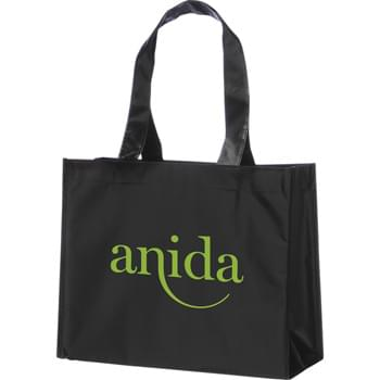 "The Rumba Laminated Shopper Tote - Open main compartment with double 24"" reinforced handles. Reusable and a great alternative to plastic bags."