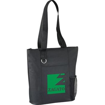 "The Infinity Business Tote - Zippered main compartment with double 27"" reinforced webbing handles. Open front pocket. Key ring. Side mesh pocket."