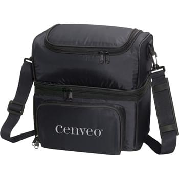 The Grande Cooler Bag - PEVA insulation. Separate top and bottom compartments. Zippered main compartment. Large top zippered compartment. Gusseted zippered front pocket. Detachable, adjustable shoulder strap.