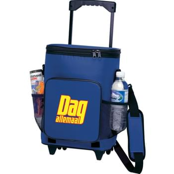 "18-Can Rolling Cooler - PEVA insulation. Zippered main compartment. Front-zippered pocket. Side mesh pockets. 20"" telescoping handle. Durable wheels. Detachable, adjustable padded shoulder strap. Collapsible with Velcro straps for easy storage."