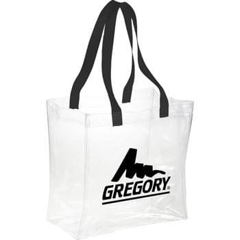 "Rally Clear Stadium Tote - Clear material makes this bag perfect for stadium, event, workplace and other safety purposes. Open main compartment with double 21-1/2"" webbing handles. Sizing applicable for NFL stadiums."