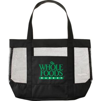 "The Surfside Mesh Tote Bag - Open main compartment with double 23"" handles. Front open pocket."