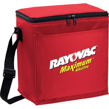 12-Pack Lunch Cooler - PEVA insulation. Zippered main compartment. Front open pocket. Adjustable shoulder strap.