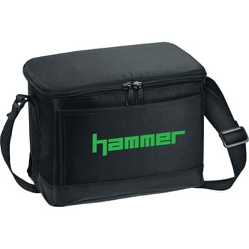 Out to Lunch 6-Pack Cooler Bag - PEVA insulation. Zippered main compartment. Front open pocket. Adjustable shoulder strap.