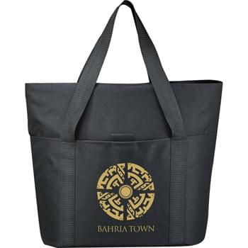"The Heavy Duty Zippered Business Tote Bag - Zippered main compartment with double 29"" handles. Interior zippered pocket. Front pocket with Velcro closure. Great for conventions, meetings and tradeshows."