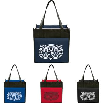 Laminated Non-Woven Cube Tote - Large open main compartment. Laminated material easily wipe clean. Large front slash pocket.