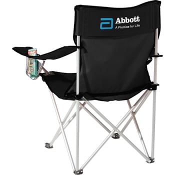 Fanatic Event Folding Chair - Portable folding chair with arm rests and built-in cup holders. Includes matching carry case with shoulder strap.