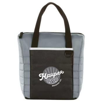 Quilted 12 Can Cooler - Quilted design with large front pocket for decorating. Insulated PEVA lining. Top grab handles.