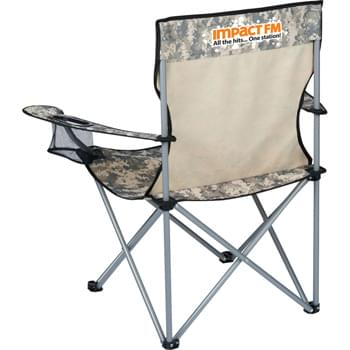 Wellington Event Folding Chair - Portable folding chair with digital camouflage pattern. Features arm rests and built-in cup holders. Includes black carry case with shoulder strap.