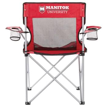 Fanatic Event Folding Mesh Chair - Portable folding chair with arm rests and built-in cup holders. Breathable mesh fabric will keep you cool and comfortable during any outdoor event. Includes matching carry case with shoulder strap. Imprint available only on back of chair. Loading weight 3