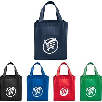 "Laminated Non-Woven Grocery Tote - Your favorite grocery bag is now available in laminated non-woven! Large open main compartment. Laminated material easily wipes clean. Front slash pocket. 9"" handle drop height."