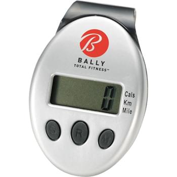 Clip-On Pedometer - LCD display. Counts steps, distance in mileage/kilometers and calories burned. Auto-off power-saving function. Belt clip.