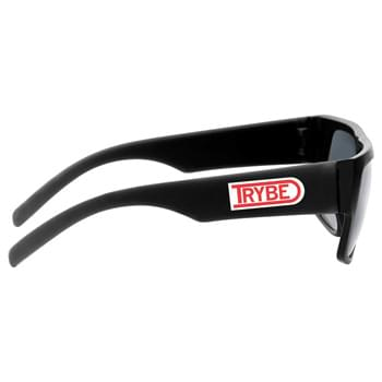 Lifeguard Sunglasses - CLOSEOUT! Please call to confirm inventory available prior to placing your order!<br />Duo-tone sunglasses with black frame and wide pop-up color temples for large decoration.  UV400 protective lenses.