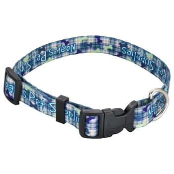 "Full Color Pet Collar - 3/4""W x 20""L - Fully sublimation-dyed adjustable pet collar. 3/4-inch width. Heavy-duty, high-quality smooth polyester webbing with increased tensile strength. Includes snap lock plastic buckle, metal D-Ring, Tri-Glide & Loop. Packed in standard bundles of 25. Made in USA. FOB ZIP: RI, 02920"
