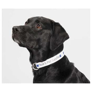 "Full Color Pet Collar - 1""W x 20""L - Fully sublimation-dyed adjustable pet collar. 1-inch width. Heavy-duty, high-quality smooth polyester webbing with increased tensile strength. Includes snap lock plastic buckle, metal D-Ring, Tri-Glide & Loop. Packed in standard bundles of 25. Made in USA. FOB ZIP: RI, 02920"