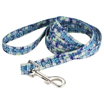 "Full Color Pet Leash - 3/4""W x 60""L - Fully sublimation-dyed pet leash. 3/4-inch width. Heavy-duty, high-quality smooth polyester webbing with increased tensile strength. Includes Metal Snap Hook. Packed in standard bundles of 25. Made in USA. FOB ZIP: RI, 02920"
