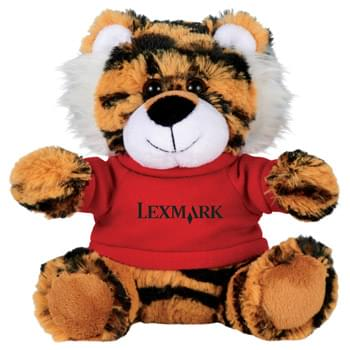 "6"" Tiger Plush Animal with Shirt - Soft, huggable plush animal makes a great gift and is a cool way to promote your brand. Choose a colorful t-shirt to display your message."