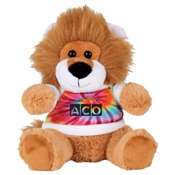 "6"" Plush Lion with Shirt - Soft, huggable plush animal makes a great gift and is a cool way to promote your brand. Choose a colorful t-shirt to display your message."